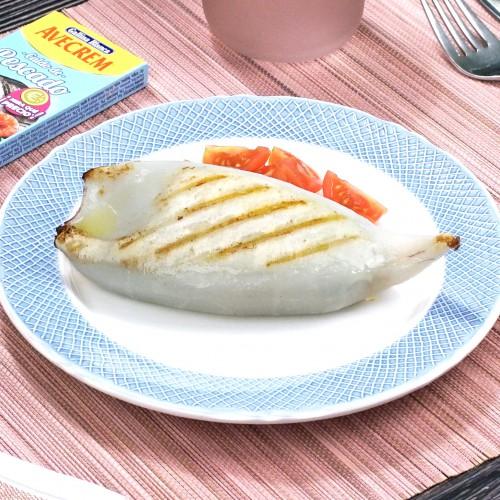 Calamares rellenos de marisco con producto