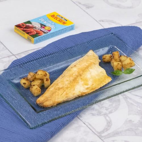 Lubina al horno con patatas con producto