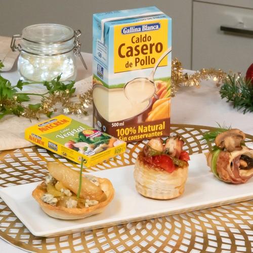Emplatado con producto canapés fáciles para Navidad