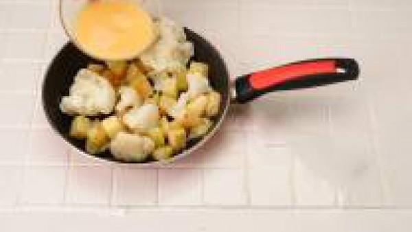 Retira del fuego y añade los huevos batidos y un poco sal. Vierte en un molde untado de aceite.