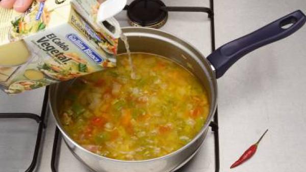 Segundo paso sopa de verduras con pasta