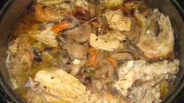 Pollo asado guisado Paso 1
