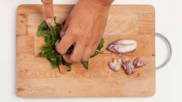 Lava las espinacas y pícalas finamente; pela y corta la cebolla en rodajas. En una olla grande, rehógala con 1 cucharada de aceite de oliva.