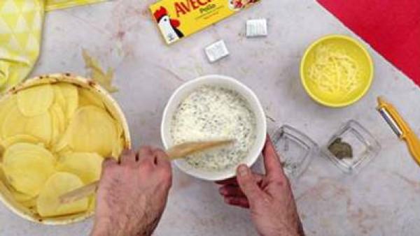 Segundo paso pastel de patata y jamon