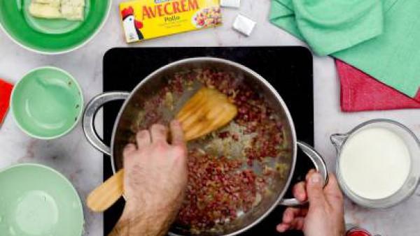 Primer paso pasta con jamon serrano