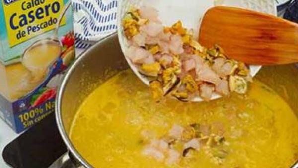 Tercer paso sopa de pescado