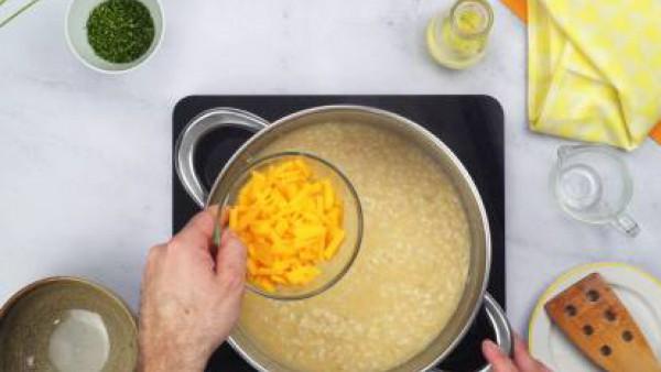 Segundo paso risotto de queso cheddar