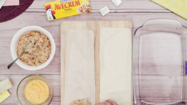 Segundo paso triángulos de queso y bacon
