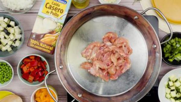Primer paso arroz con pollo y verduras