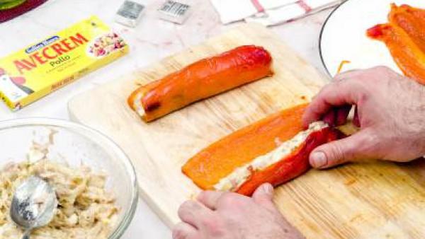 Tercer paso rollitos de pimiento y atún