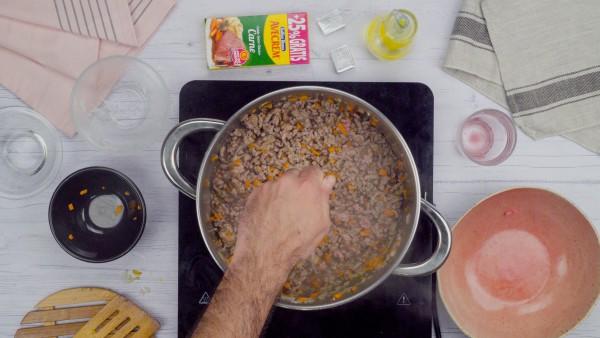 Tercer paso pastel de carne