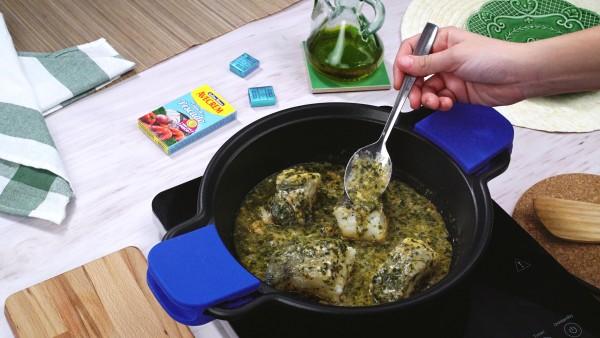 Tercer paso bacalao en salsa verde
