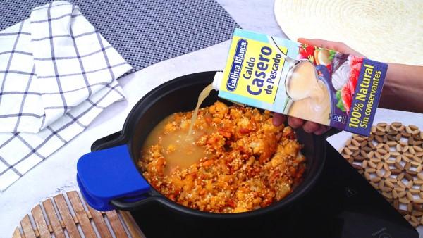 Tercer paso arroz con bacalao y coliflor