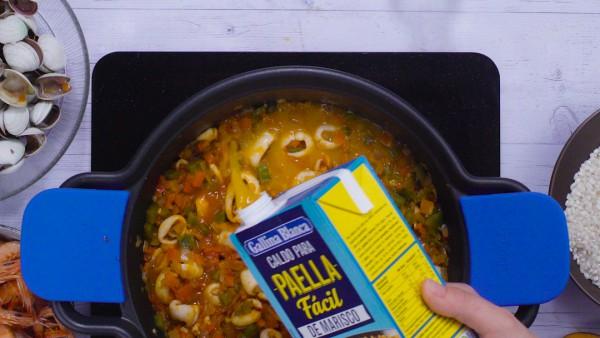 Segundo paso arroz caldoso con marisco