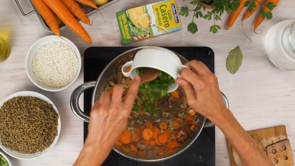 Lentejas con verduras y arroz paso 1