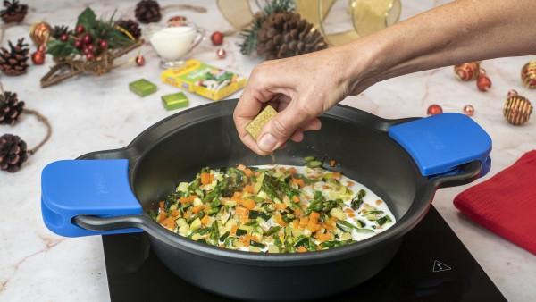 Primer paso de tartaletas de verduras y queso