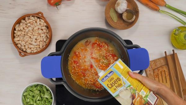 Primer paso alubias con arroz y verduras