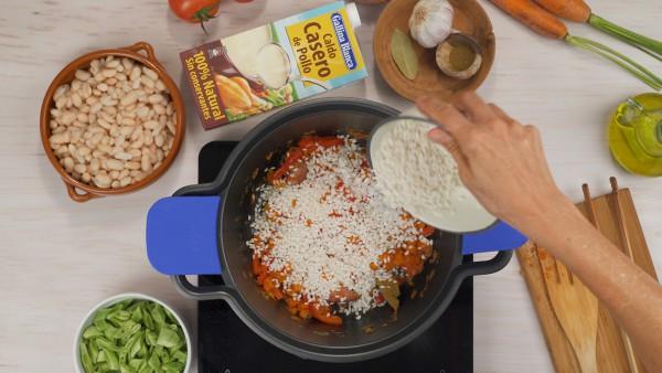 Tercer paso alubias con arroz y verduras