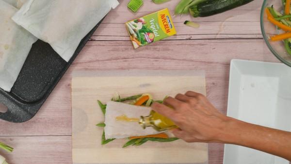 Merluza en papillote con verduras Paso 2