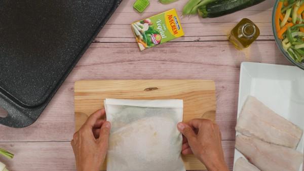 Merluza en papillote con verduras Paso 3