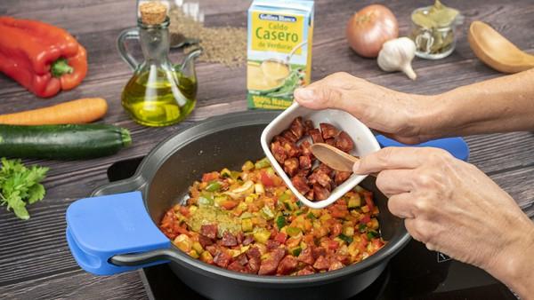 Lentejas con verduras y chorizo Paso 1