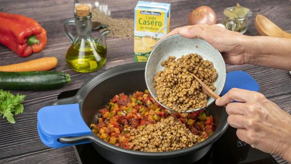 Lentejas con verduras y chorizo Paso 2