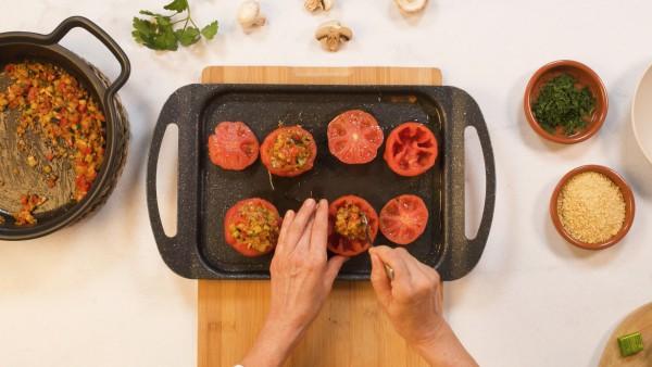 Paso 3 tomates rellenos de verduras